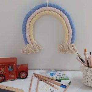 Arc-en-ciel fait main laine et coton naturel macramé décoration bohème