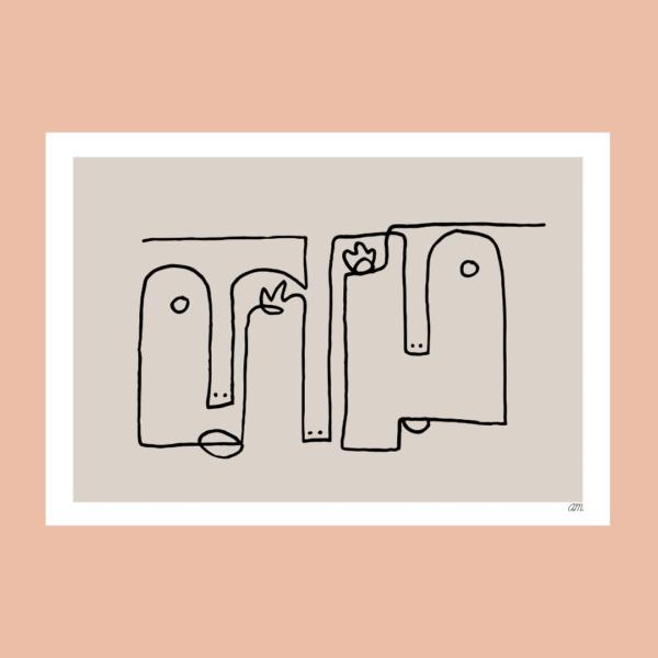 Affiche déco Visage Abstrait Le Couple de Cailloute bohème