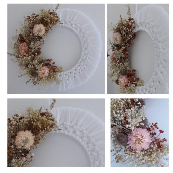 Couronne macramé de fleurs séchées et macramé blanche détails