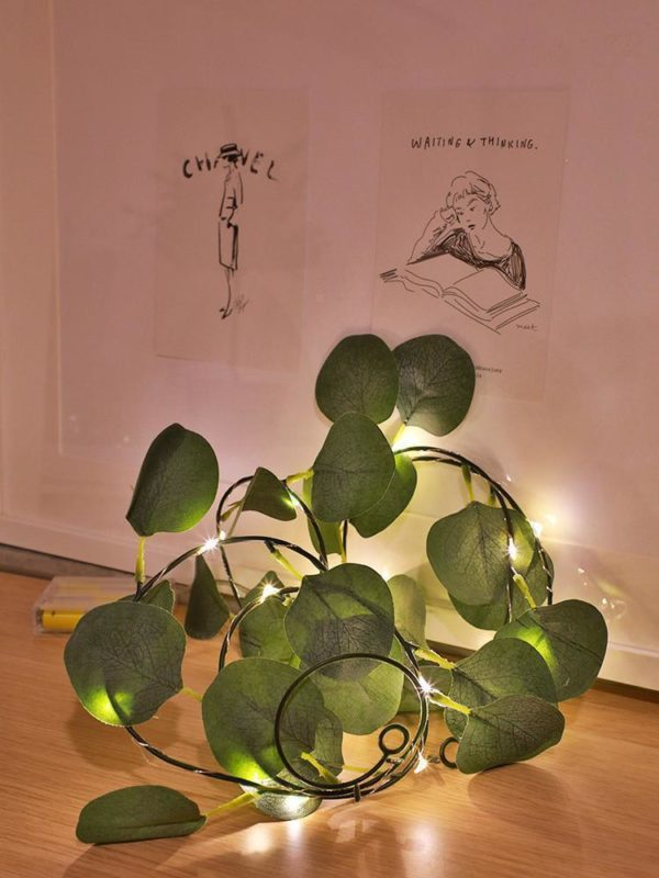 Guirlande lumineuse feuilles d'eucalyptus