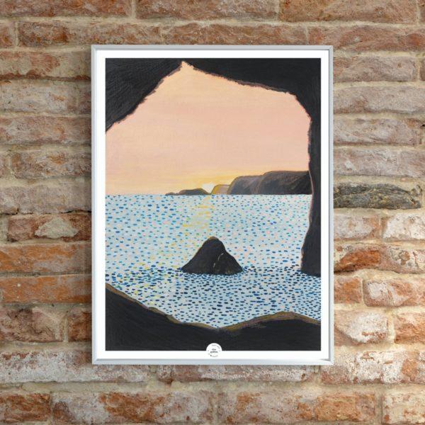 Affiche déco Grotte Belle-Ile boheme illustration