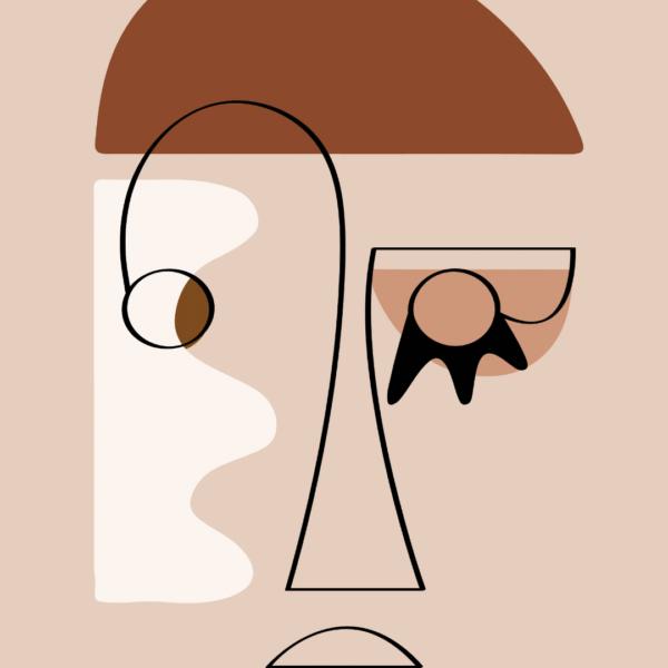 Affiche déco Visage Abstrait La Cailloute bohème