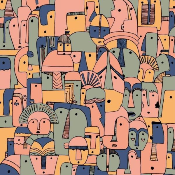 les cailloutes colorés affiche déco visage abstrait bohème