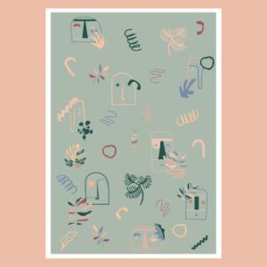 Affiche déco Visage Abstrait Les Cailloutes & la Nature bohème