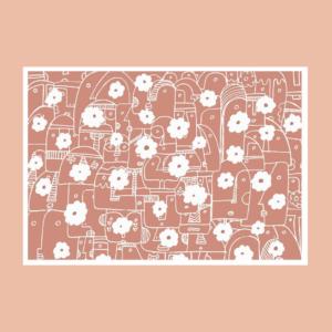 Affiche déco Visage Abstrait Les Cailloutes en Fleurs bohème