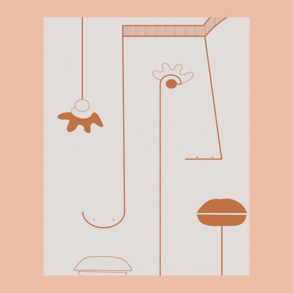 Affiche déco Visage abstrait Les Cailloutes Terracotta bohème