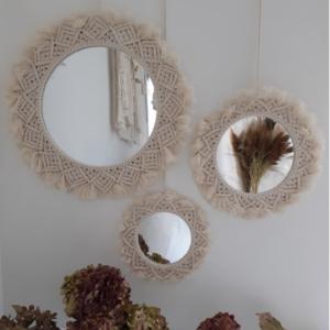 miroir macramé blanc