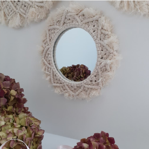Miroirs Macramé Blanc