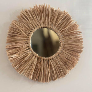 Miroir rotin raphia perles