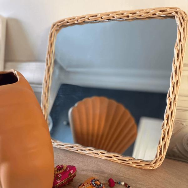 Miroir carré rotin