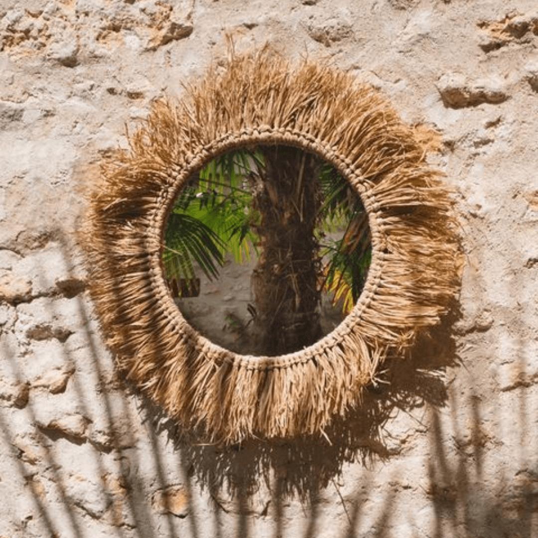 miroir raphia naturel 59 cm