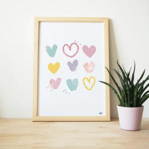 affiche colorée coeur