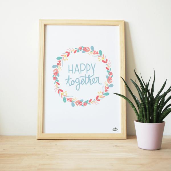 affiche message et rires et souriresaffiche message happy together heureux ensemble