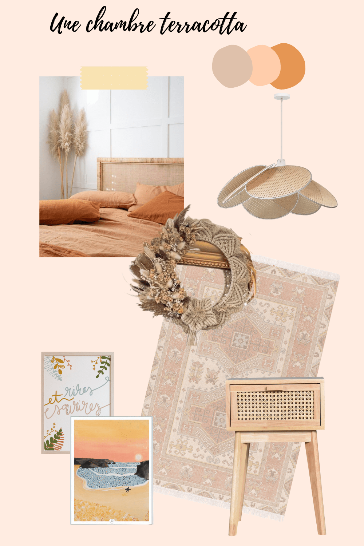 inspiration chambre boheme terracotta suspension en rotin