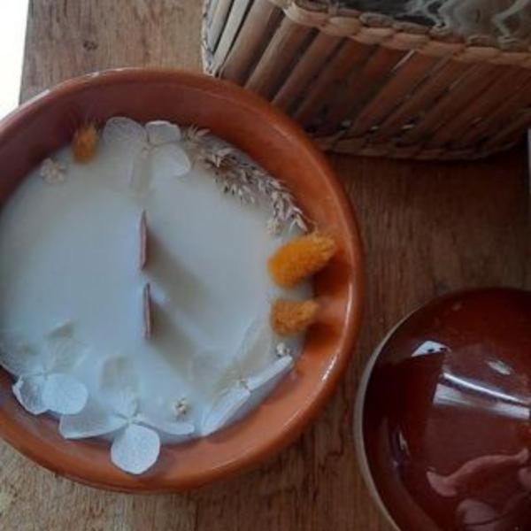 Bougie fleurs séchées terracotta Coton
