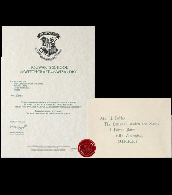 Lettre d'acceptation d'Harry Potter à Poudlard