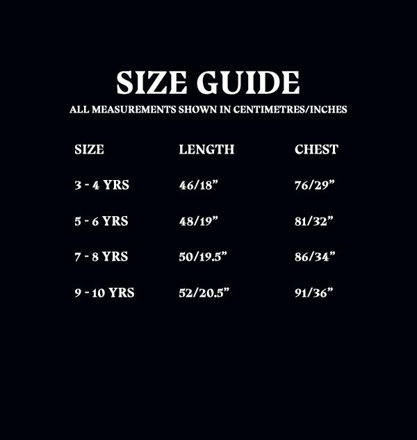 OLD Size Guide Kids Tshirts 5f643681 b3cf 4cef abb4 630e33d2a280 Boutique harry potter T-shirt enfants Poudlard