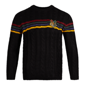 Pull en tricot avec l'écusson de Poudlard
