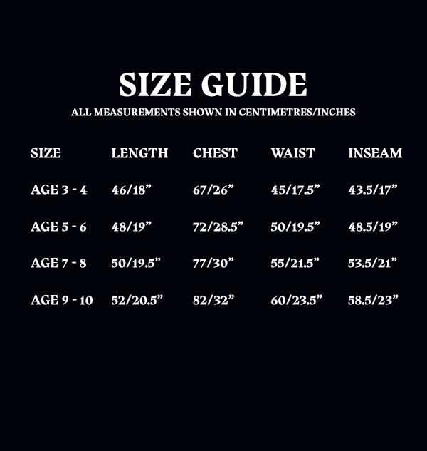 Size Guide Kids PJ Set c71cd1d4 e83f 4699 ab95 65510d8184cf Boutique harry potter Pyjama pour enfants Dobby