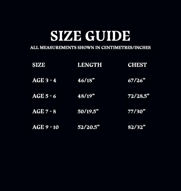 Size Guide Kids Tshirt 4d226cfd 7b47 4616 a1cb 163b08c9e411 Boutique harry potter T-shirt pour enfants Poufsouffle