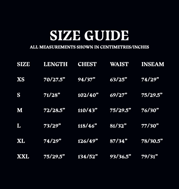 Size Guide Unisex Adult PJ Set 50cc0724 da6c 4145 babe e8f36a234f8e Boutique harry potter Pyjama Poufsouffle
