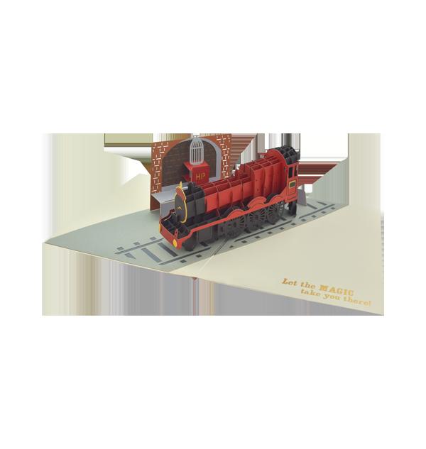 train Boutique harry potter Carte de vœux pop-up Poudlard Express