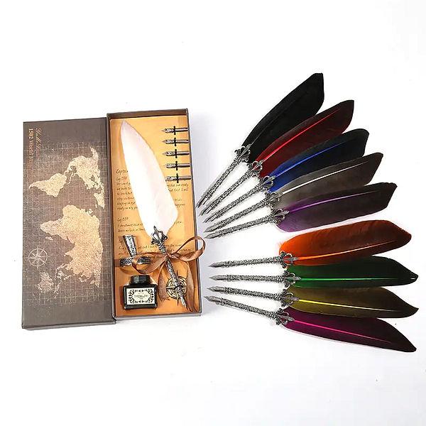 Stylo plume vintage de toute les couleurs dans sa boite avec l'encre et tout