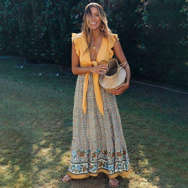 jupe longue fleurie t taille haute robe de plage femme jupe ete vetement femme 2021 vintage.jpg 640x640 1