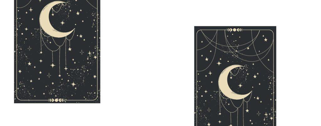 Carte demi lune avec un collier étoilé