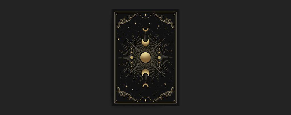 Carte soleil avec lune doré