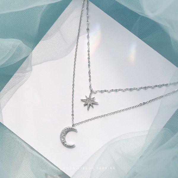 Collier Lune et étoile en strass ( Argent ) jabilune