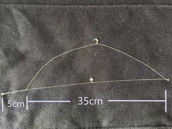 Collier Lune et étoile en strass ( Argent ) longueur