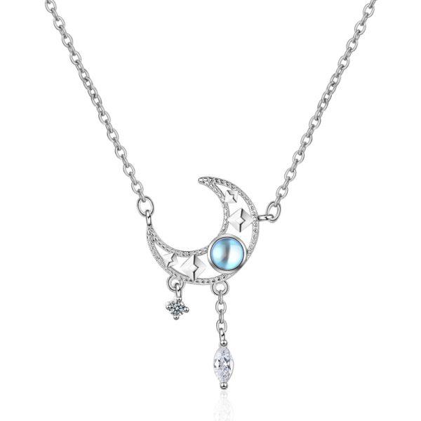 Collier lune opale étoilé jabilune