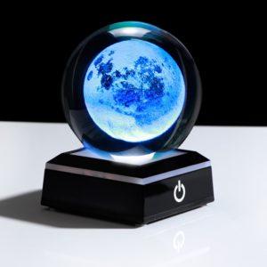 Globe en verre Lune ronde