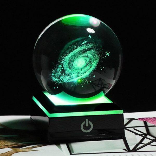Globe en verre socle noir galaxie verre