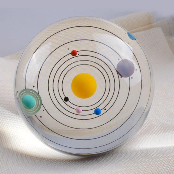 globe en verre système solaire