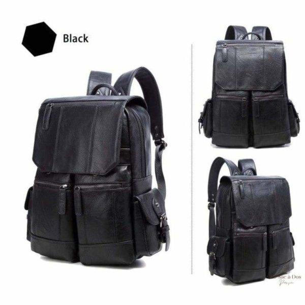 Sac à Dos en Cuir Okee - Black / 14 pouces - Étuis et sacs