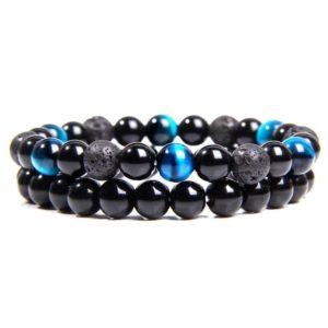Bracelet Oeil De Tigre Bleu & Hématite & Lave Noir