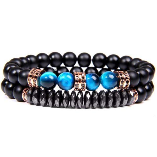 Bracelet Œil De Tigre Bleu & Hématite Energisante Cuivre