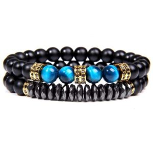 Bracelet Œil De Tigre Bleu & Hématite  Energisante Or