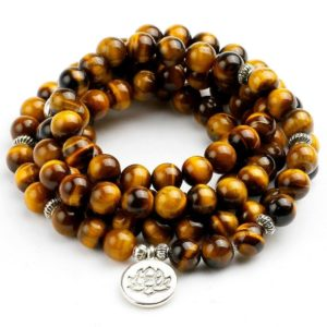 Bracelet oeil De Tigre Fleure de Lotus