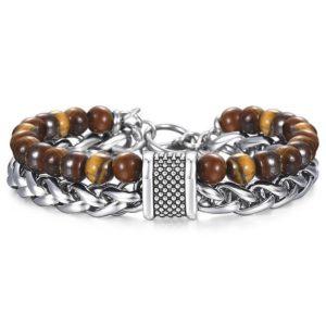 Bracelet Oeil De Tigre Foncé & Acier