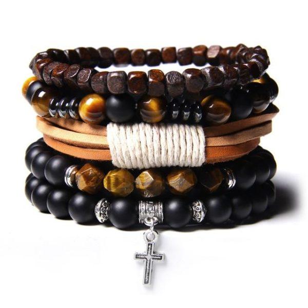 Bracelet Œil De Tigre Multiple Croix Chrétienne