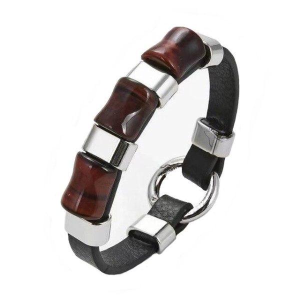 Bracelet oeil De Tigre Rouge & Anneaux D'Argent