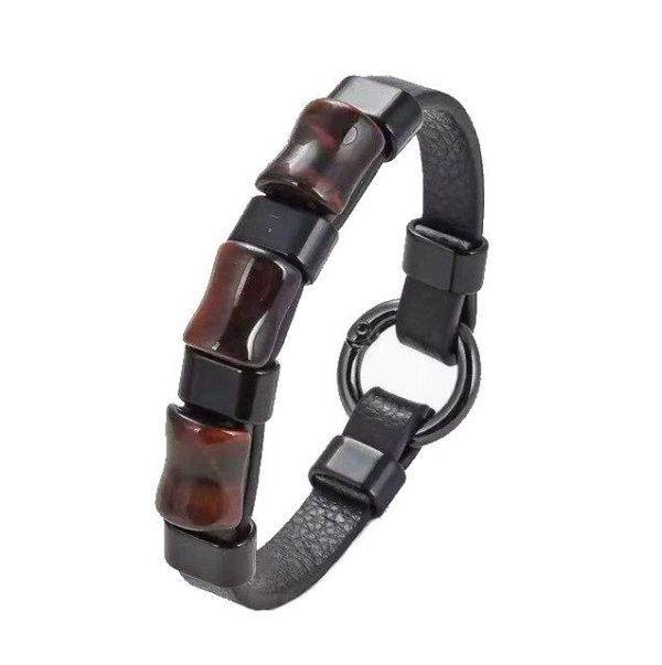 Bracelet oeil De Tigre Rouge & Anneaux Noir