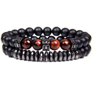Bracelet Œil De Tigre Rouge & Hématite Energisante Noir