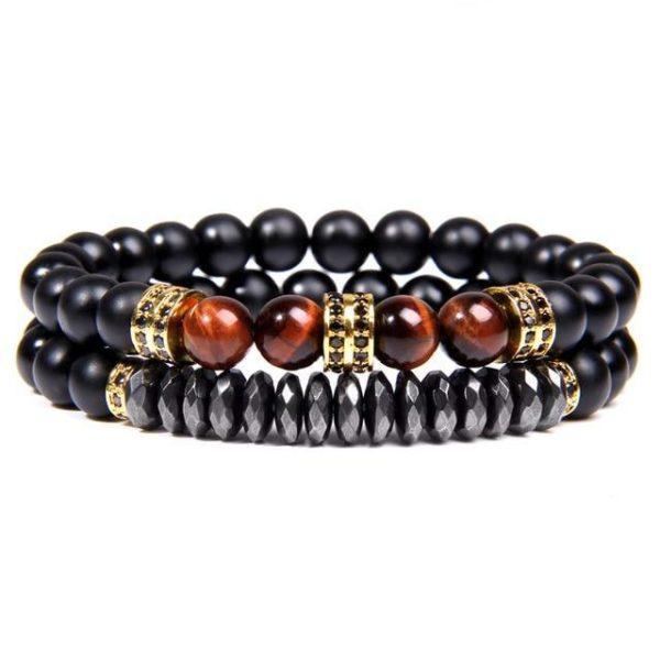 Bracelet Œil De Tigre Rouge & Hématite Energisante Or