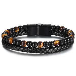 Bracelet oeil De Tigre Tressé cuir noir
