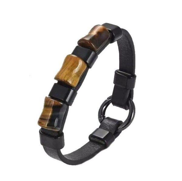 Bracelet oeil De Tigre & Anneaux Noir