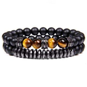 Bracelet Œil De Tigre & Hématite Energisante Noir
